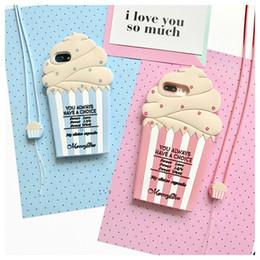 Caso de telefone bonito sorvete design silicone phone case com cordão para iphone7 / 7 plus / 6/6 s / 6 plus / 6 s plus