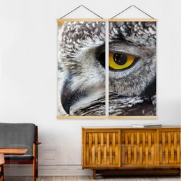 Pintura de parede da águia on-line-Cópia da lona Para Casa Decoração Arte Da Parede 2 Peça Eagle Eye Painting Rolo De Madeira Sólida Pendurado Imagem Moderna Para Sala de estar cartaz