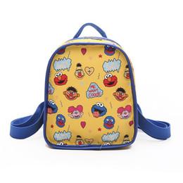 mochilas de niña linda para la universidad Rebajas KEENICI 2019 College Cute Cartoon Contraste Sesame Street Mochila para estudiantes Chica Moda Personalidad Niños pequeños Mochila escolar