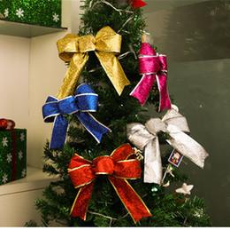 2019 leben weihnachtsbäume 25 cm Weihnachten Bogen Band Großen Bogen Weihnachtsbaum Anhänger Kinder Geschenk Zubehör Holiday Home Wohnzimmer Dekoration rabatt leben weihnachtsbäume