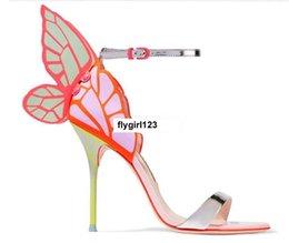 Бесплатная доставка Sophie Webster Ms. Кожаные высокие каблуки, Разноцветные крылья, Липкие каблуки, Сандалии, Размер: 34-42, оранжевый от Поставщики оранжевые кожаные сандалии