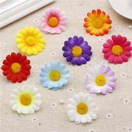 4cm box Promo Codes - LOT 10PCS 4cm Sunflower Artificial Flower Heads DIY Handmade Crafts Accessories Mini Gerbera Daisy Fake Flowers Gift Box Decor