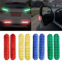 2019 ruedas reflectantes 2pcs puerta de coche reflexiva etiquetas de puerta de coche Rueda de cejas etiqueta engomada de la cinta de advertencia bandas reflectantes Car-styling Marca de Seguridad rebajas ruedas reflectantes