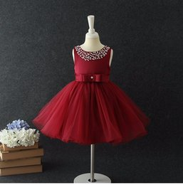 kids red evening gowns Promo Codes - Flower Girls Dresses for Weddings Baby Formal Party Tutu Dress Children Dress Kids Prom Dresses Evening Gowns