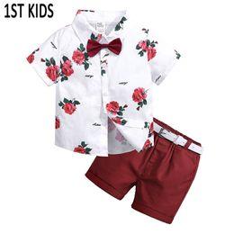 2019 ceinture rouge bébé 3pcs enfant en bas âge enfants bébé garçon ensembles de mode chemise à fleurs + pantalon court rouge + ceinture tenues coton été vêtements ensemble mis Db459 Y190518 promotion ceinture rouge bébé