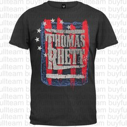 Camisa de homens de listras de estrelas on-line-T-shirt Thomas Rhett estrelas listras do homem preto dos homens manga curta Tops Moda camisetas T Tamanho S M L XL 2XL 3XL