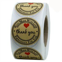 Lindas pegatinas de sellos online-Kraft Natural Redondo de 1 Pulgada Gracias Pegatinas 500 Etiquetas por Rollo Pegatinas Lindas para Sello Etiquetas Hechas A Mano con Amor Etiqueta