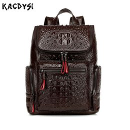 рюкзак из крокодиловой кожи Скидка Famous Real Crocodile Pattern Leather Womens Backpack Alligator  Quality Knapsack Cowhide Female Laptop School Bag Daypack