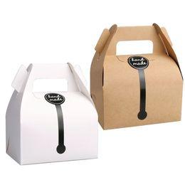 Kraft Kağıt Kek Kutusu Ile 11.5 * 8 * 9 cm Kolu Düğün Parti Lehine Ambalaj Kutuları El Yapımı Hediye Için Iyi, Gıda, Sabun, Çörek, Çerez nereden