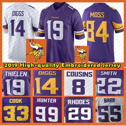 jersey estilo cor amarelo Desconto Minnesota Adam 19 Thielen Jersey Vikings 14 Diggs 8 Cousins 99 Hunter 84 Patterson 55 Barr Rudolph 29 Rhodes 33 Cozinhe Mens Football Jerseys