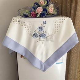 2019 toalha de crochet quadrada 83 cm moderno quadrado branco cetim toalha de mesa guardanapo nappe rendas toalha de mesa toalha de casamento decoração de casamento polivalente