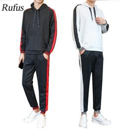 2019 moda suor ternos Hoodies Casual RUFUS dos homens Sweat Suit Primavera / Outono Moletons homens Treino com Listra Moda Estilo 2 PC desconto moda suor ternos