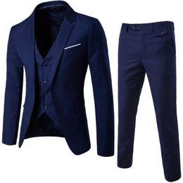 vino tuta uomo matrimoni montatore Sconti Oeak Uomo Primavera 3 pezzi classici Blazers serie di abiti da uomo d'affari Blazer + Vest + Pants adatti agli insiemi 2019 autunno festa di nozze Set