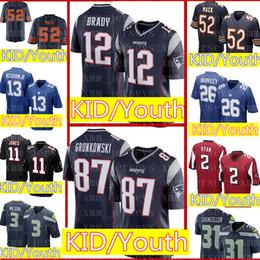 1d32acfc2 Kid 12 Tom Brady 87 Rob Gronkowski Jersey Juvenil NIÑOS Nuevos Patriots  Camisetas de fútbol 52 khalil Mack 2 Matt Ryan al por mayor barato