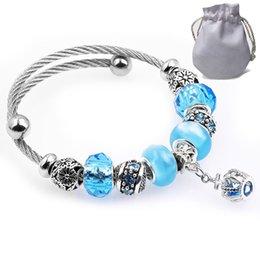 2019 stahl silber blau kreuz 6 stücke titanium stahldraht armbänderfit pandora frauen facettierte murano glas blau kristall perlen geschnitzte blume armreif silber kreuz anhänger p167 günstig stahl silber blau kreuz