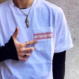 La banda degli uomini casuali della camicia di modo online-T-shirt da taschino da taschino con logo a righe in maglia 19SS T-shirt da uomo estiva in cotone con maniche lunghe da uomo HFLSTX393