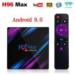 Caja de tv wifi online-H96 Max Android 9.0 TV Box 2G16G 4G32G 4G64G RK3318 Dual WIFI Smart TV BOX IPTV Box más reciente