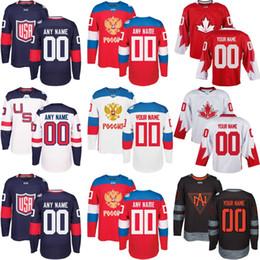 2019 maillot coupe du monde russie Maillot de hockey sur mesure pour homme 2016, TOUT NOM ET NUMÉRO Russie usa Amérique du Nord Hockey Coupe du Monde, Rouge Rouge maillot coupe du monde russie pas cher