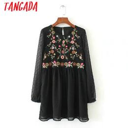Venta al por mayor mujeres Floral bordado vestido de malla transparente de manga larga estilo Boho damas Ucrania otoño Mini vestidos Vestidos desde fabricantes