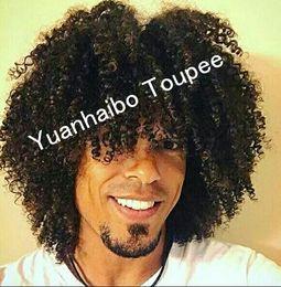 Argentina Peluca de piel delgada para hombres negros Toupee estilo rizado para hombre medias de encaje PU Toupee cabello humano Virgen brasileña envío gratis cheap mens lace stockings Suministro