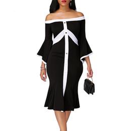 Argentina Vestido de sirena de las mujeres sexy negro blanco costura slash cuello tres cuartos manga flare casual vestidos de fiesta de moda Suministro