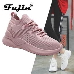 sapatos femininos com sacolas de malha casual Desconto Fujin Marca 2019 New Spring Summer malha respirável Luz Casual Calçados Femininos Mulher Sneakers Calçados Walking