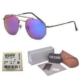 Scatole esagonali online-Brand design Hexagon Occhiali da sole Uomo donna Metal Frame (lente in vetro) Occhiali Occhiali Retro Occhiali da sole Oculos De Sol con scatola al minuto