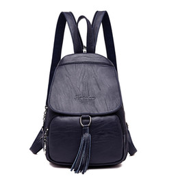ee47a10f816f Fashion Tassel Genuine Leather Women Backpack Small Shoulder Bags For Teenagers  Girls High Quality Female Travel BackPacks