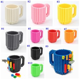 Ladrillo construido online-Drinkware Building Blocks Tazas DIY Block Puzzle Mug 350Ml Build-On Brick Taza creativa Tazas de café Taza MMA2303-2
