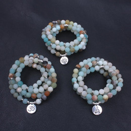 collana di perle amazonite Sconti Moda Bracciale da donna Bracciale opaco smerigliato Amazonite con loto OM Buddha Bracciale Yoga braccialetto 108 collana mala dropshipping