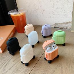 2019 diseño de moda bluetooth Para AirPods Case Fashion Cute Suitcase Trunk Case para Airpods 2 Diseño de equipaje Bluetooth inalámbrico Auriculares Proteger cubierta rebajas diseño de moda bluetooth