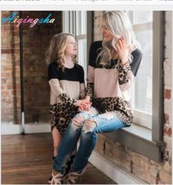 Mädchen kleidet größe 7t online-Mutter Tochter passende Kleider Herbst Plus Größe Fett Mama und mich Kleid setzt Kleidung Leopard Muster Lace Mama Mädchen Kleid