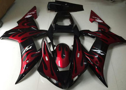 zx14r carrinhos de abs Desconto Livre Pára-brisa Novo ABS kit de carenagem completa da motocicleta ABS para YAMAHA YZF R1 2002 2003 carenagem YZFR1 02 03 YZF-R1 vermelho Chama