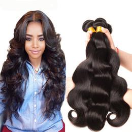 pelo camboyano crudo Rebajas 3 Bundles Brasileño Body Wave Hair Weave Barato Color 1B Negro Raw Virgin Indian Malaysian Peruano Camboyano Chino Trama del pelo humano