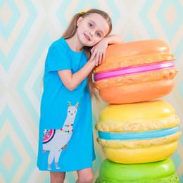 vestido para animais Desconto Roupas de grife para a menina unicórnio dress animals 100% algodão manga curta dress 2019 roupas de verão casual crianças 2-7 t