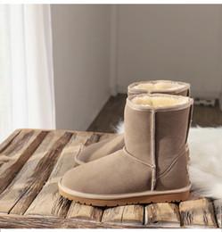 Hohe pelzschnee stiefel online-Australien Neueste Produkte Winter Schnee Stiefel Frauen mit Kasten Classic Tall Leder Bailey Bogen-Mädchen-Schuhe sz5-10 Wolle Fur Billig Preis Stiefel
