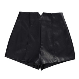 Кожаные шорты с высокой талией онлайн-PU Leather High Waist Shorts Women Autumn Winter Fashion Slim Black Wide Leg Women Shorts Sexy Mini Short Femme Trousers C4678