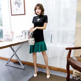 2020 stich perle Shanghai Story Fashion Cheongsam Stil Kleid White Crane Nail Bead Elastic Cotton Stitching Chiffon Kleider rabatt stich perle