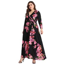 Long SLeeve Maxi Party Dresses Vestidos 2019 Chubby Women Plus Size V Neck Floral Printed Autumn Winter Women Casual Long Sleeve Dresses