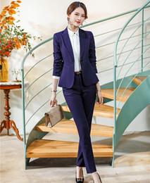 Oficina pantalones morados online-Alta calidad formal púrpura Blazer mujeres trajes de pantalón de oficina para mujer Ropa de trabajo Ropa de trabajo Ropa de trabajo Conjuntos