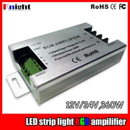2019 controlador amplificador Toda la venta DC12V RGB AMPLIFICADOR Controlador 24V 30A 360W 3528 5050 12A / 144W RGB Amplificador de luz de tira LED 360W luz de tira RGB controlador controlador amplificador baratos
