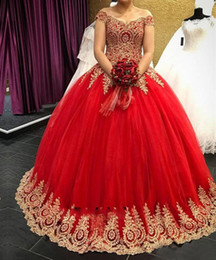 Gold Lace 2019 Quinceanera Dresses Off The Shoulder Corset Sweet 16 Ball Gown Red Tulle Long Formal Prom Dress Vestidos De 15