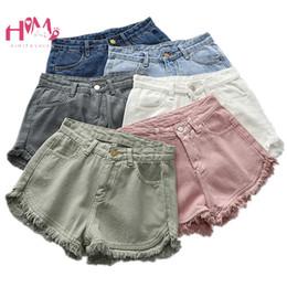 jeans rosa caldi Sconti Estate femminile coreano Bianco Jean Pantaloncini Vintage Casual Vita alta Nero Denim Bottom Harajuku Ulzzang Nappa Rosa Hot Shorts 2019