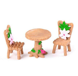 black chairs Promo Codes - 3pcs Set Table Chair Resin Craft Micro Landscape Ornament Fairy Garden Miniature Terrarium Figurine Bonsai Decoration