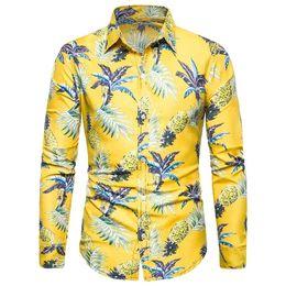 Camisas de vestir de los hombres florales Camisa de manga larga para hombres Estilo hawaiano Ocio Playa Blusa Hombres Nuevo Amarillo desde fabricantes