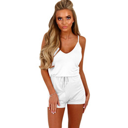 1dcc7b32ee19 La MaxZa Spaghetti Strap Casual Lace Up Playsuit Female for Women V Neck  Pure Color Short Romper Beach Summer Womens Jumpsuit