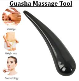 Jade de chifre on-line-Cuidados de saúde Acupuntura ponto Gua Sha vara Buffalo Pé Chifre Massagem Corporal Jade Massage Conselho de pedra Ferramenta spa terapia Massager