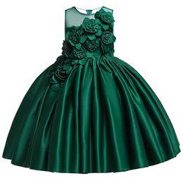 Sticken handblumen online-Blume Kuchen Tutu Kinder Kleidung Elegent Hand Perlen Mädchen Kleider für Kinder Prinzessin Party Custumes Grün Gestickte 2-10 Jahre