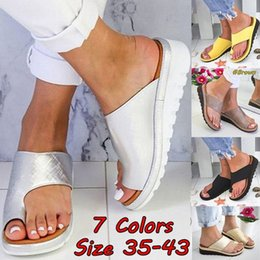 sandali pattinanti per piattaforme Sconti Taglia 34-43 Cunei di cuoio di modo delle donne Open Toe Shoes Slipper Ladies Summer Beach Casual Platform Beach infradito Sandali 7 colori