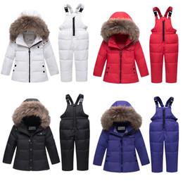 Deutschland -30 Grad Baby-Kind-Eindickung Warm Duck Down Jacket + Down-Pant Infant Echtpelzkragen Winter-unten Set Kind Zu Versorgung